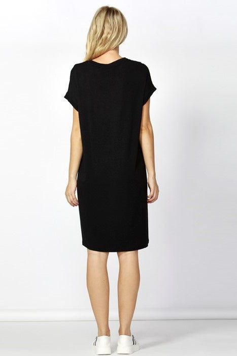 Black v neck short sleeve tee dress Betty Basics