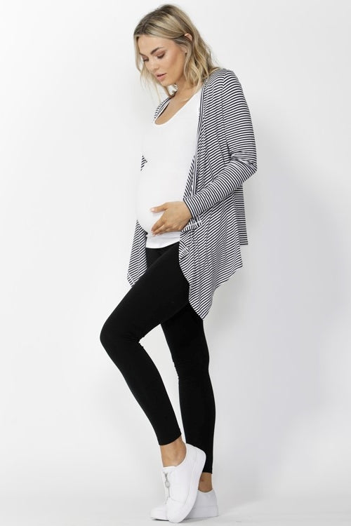 Melbourne Cardigan in Navy/White Stripes