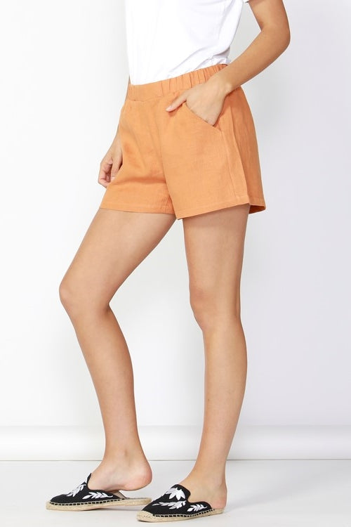Jax Linen Shorts in Rust