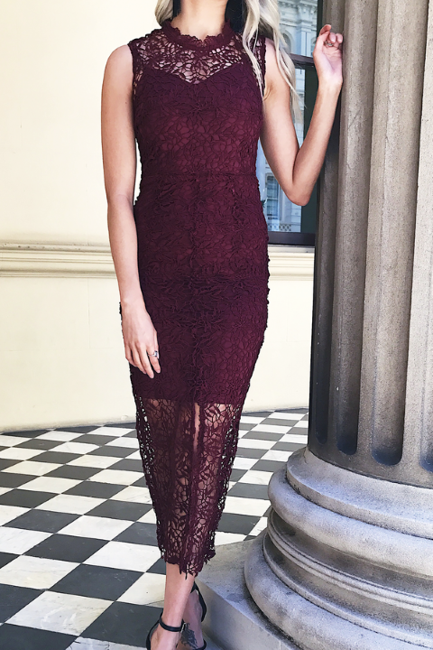 Emilia burgundy lace dress