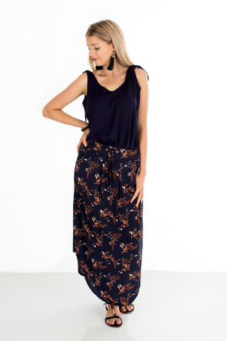 Hailey Dress in Navy Floral