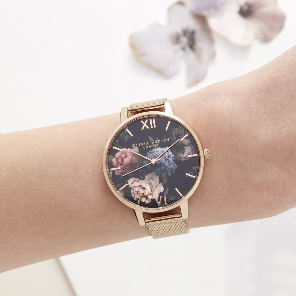 Olivia Burton Dark Bouquet Rose Gold Mesh Watch