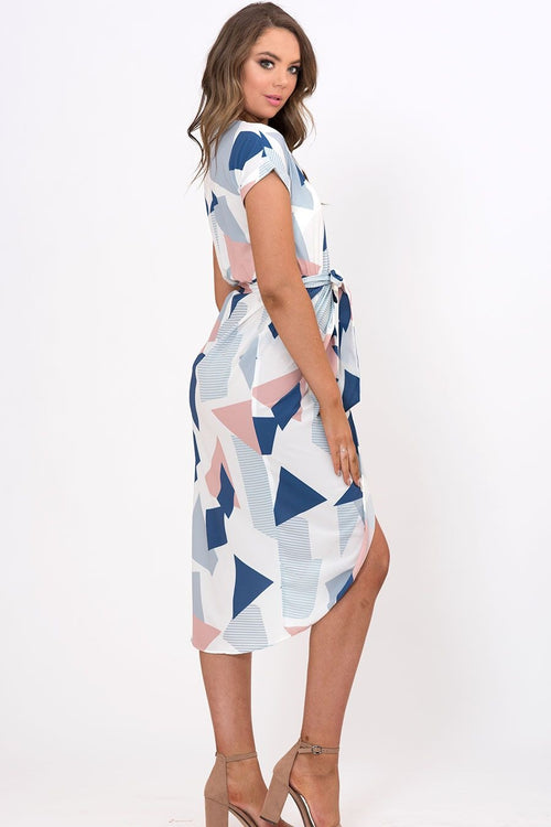 Geo printed cap sleeve belt dress