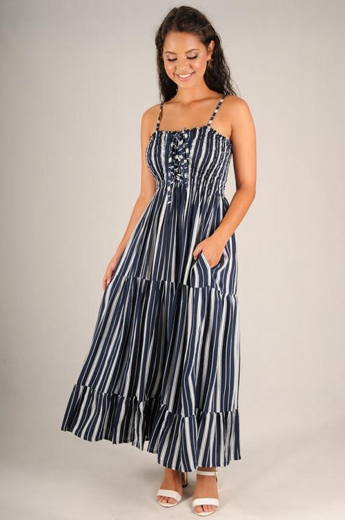 Stripe Ruched Maxi in Navy