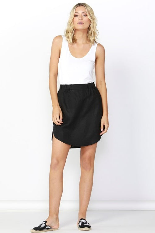 Duke Linen Skirt in Black