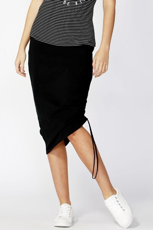 Black skirt drawstring ruched side