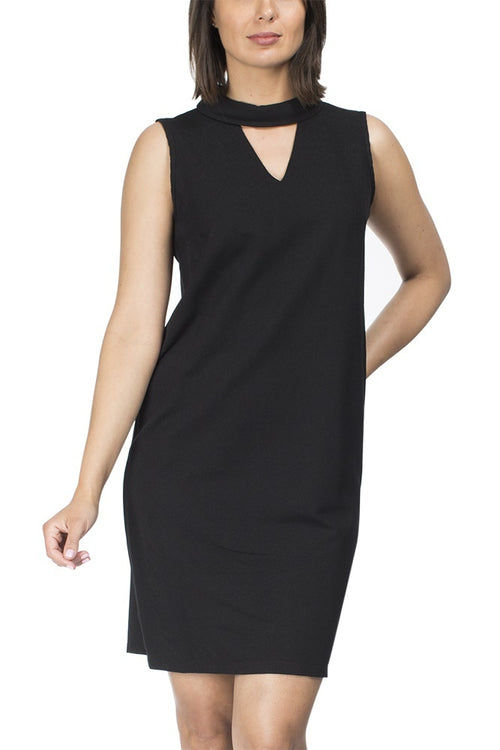 High neck sleeveless black dress by Threadz