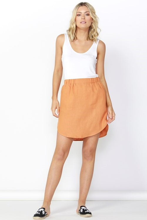 Duke Linen Skirt in Rust