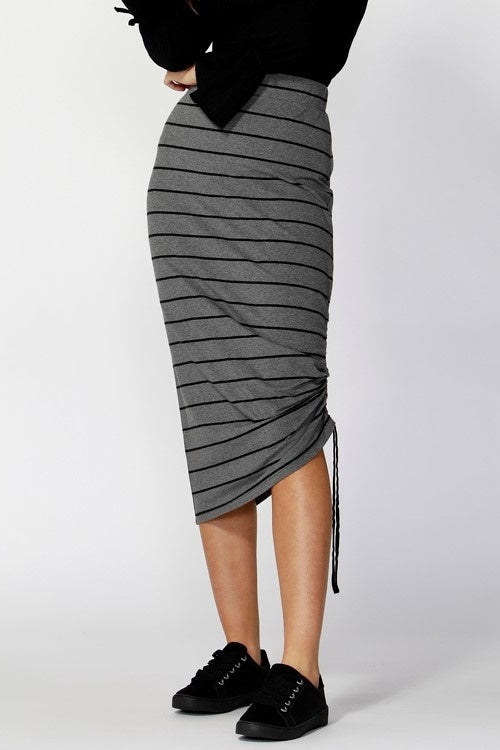 Charcoal stripe skirt drawstring ruched side