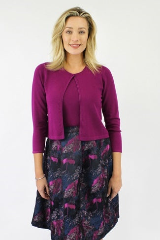 Julia Knit Cardigan in Magenta and Peacock