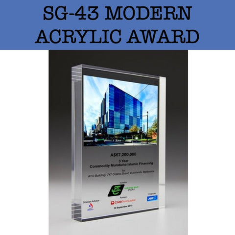 sg-43 modern acrylic award plaque corporate gifts door gift