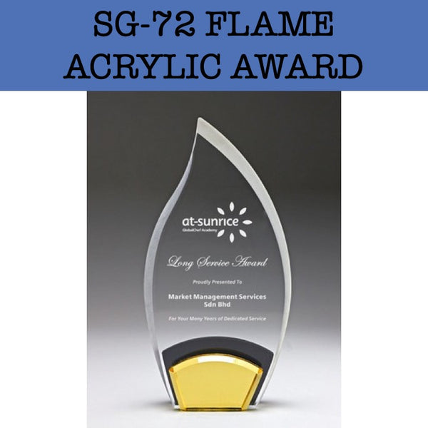 sg-72 flame acrylic award plaque corporate gifts door gift