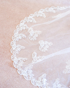 The Bianca Lace Applique Cathedral Veil