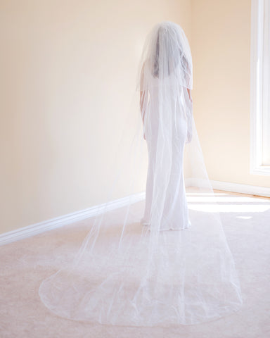 The Beverly Two Tier Pencil Edge Cathedral Veil