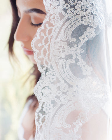 The Brenda One Tier Lace Edged Cathedral Veil
