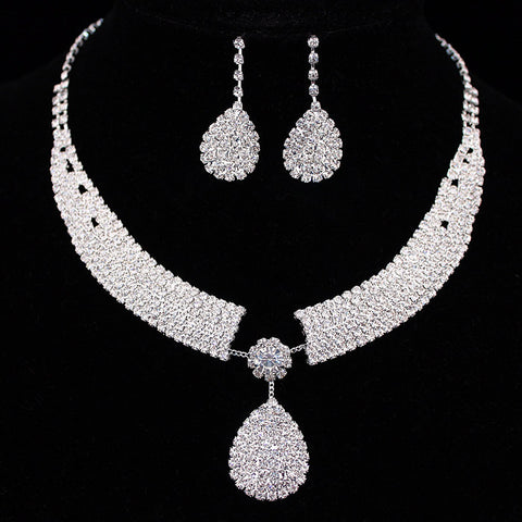 teardrop-jewelry-set-bridal-necklace-set-silver-Austrian-crystal-beautiful-brides-bridal