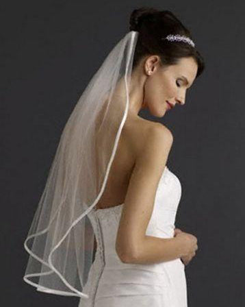 Satin Ribbon Edge One Tier Elbow Length Veil