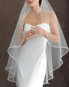 Satin Edge One Tier Elbow Length Veil With Comb