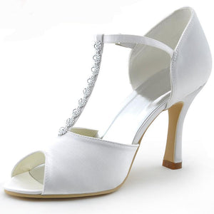 White Peep Toe Rhinestone T-Strap High Heel Bridal Pumps