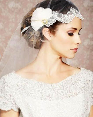 The Juliet Cap Mantilla Feather Bridal Wedding Veil