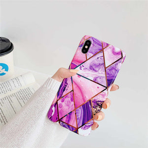 iStylishmall - Plating Geometric Marble Case For iPhone 11 Pro Max