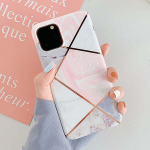 iStylishmall - Plating Geometric Marble Case For iPhone 11 Pro Max (Worldwide Free Shipping)