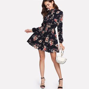 Autumn Floral Multicolor Elegant Long Sleeve High Waist Dress - i-stylish mall