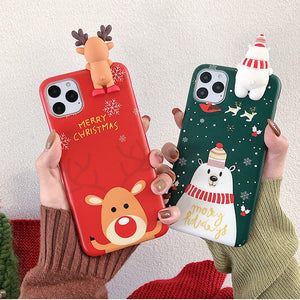 iStylishmall - Christmas Cartoon Soft Case For iPhone 11 11Pro 11ProMax X XS XR XS Max