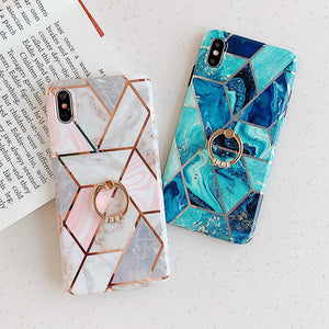iStylishmall - Luxury Geometric Marble Texture Phone Cases For iPhone X XR XS Max 7 8 Plus.