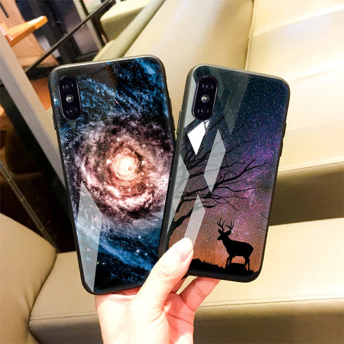 Beautiful Stars Space Tempered Glass And Silicone Frame Cover For iPhone XS Max XR XS X