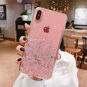 istylishmall - Glitter Bling Sequins Epoxy Star Transparent Case For iPhone X XR XS MAX 8 7 Plus 6 6s