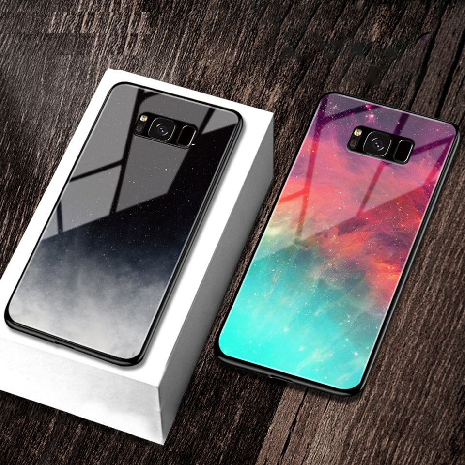 iStylishmall - Starry Sky Tempered Glass Case For Samsung Galaxy S9 S8 Plus Note 8 9 S7 Edge.