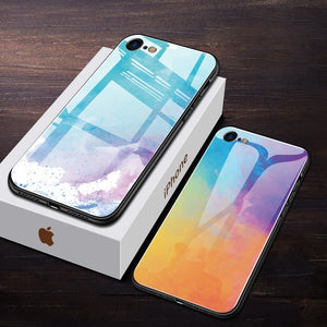 iStylishmall - Luxury Tempered Glass Phone Case For iPhone 7 8 Plus  X XR XS