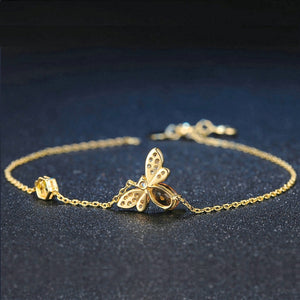 Queen Bee Pendant 925 Sterling Silver Gold-color Chain Bracelet