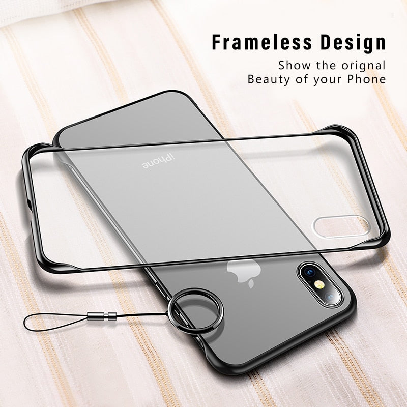 iStylishmall - Frameless Transparent Matte Hard Phone Case For iPhone X 7 6 6S 8 Plus XS Max XR With Finger Ring Cases