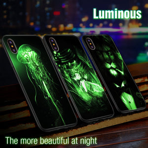 istylishmall-Sparkling Pattern Luminous Tempered Glass Cases For iPhone X XS MAX