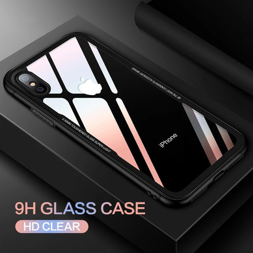 istylishmall - Ultra Thin 0.7MM Tempered Glass Full Protection Case for iPhone X XS Max XR 7 8 Plus