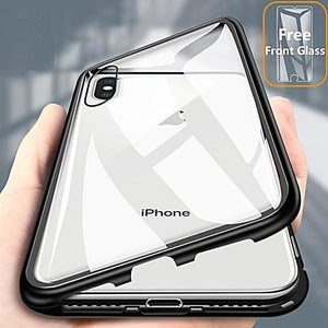best website cb808 b421d Strong Magnet Adsorption Case for iPhone X XS MAX XR + Free Front Glass
