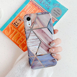 iStylishmall - Luxury Geometric Marble Texture Phone Cases For iPhone 11 Pro ProMax X XR XS Max.