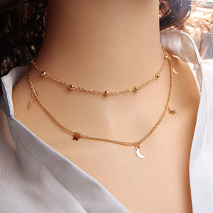 17KM Gold Color Star Moon Multi Layer Leaf Steampunk Bohemian Necklace - i-stylish mall