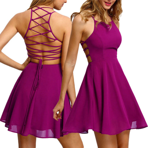 Backless Bandage Mini Dress - i-stylish mall