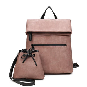 2 PCS/SET Vintage PU Leather Backpacks with Shoulder Bags - i-stylish mall