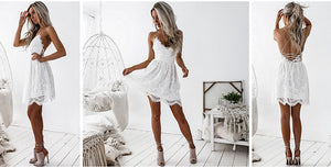 Sleeveless V-Neck Backless Strap Sexy Dress - i-stylish mall