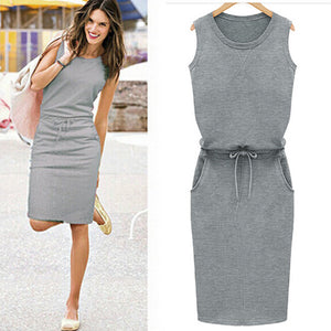 2018 Summer Fashion - Cotton Linen Sleeveless Slim With Belt O-neck Women Dress - i-stylish mall