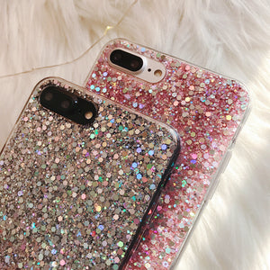 Bling Glitter Crystal Sequins Texture Soft Cover For iPhone X XR XS Max