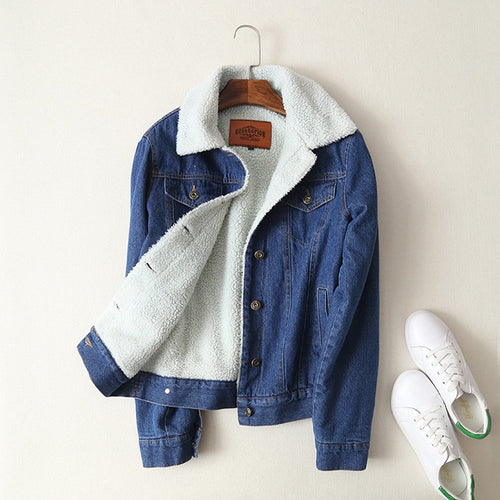 2018 Jean Coat With 4 Pockets Outwear Wide Denim Jacket - i-stylish mall