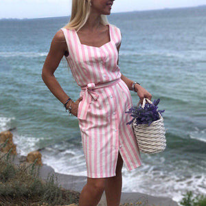 2018 Navy blue Pink Striped Sleeveless Dress Summer Beach Party Dress - i-stylish mall