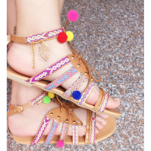 Ethnic Bohemian Summer Women Sandals With Embroidered Gladiator Roman Woman Flat Shoes - i-stylish mall