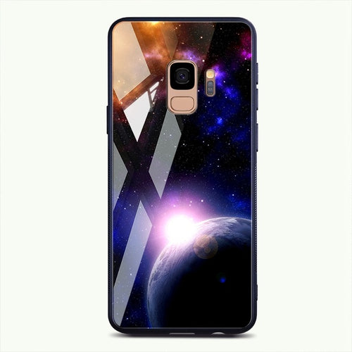 Star Space Patterned Tempered Glass Case For Samsung Galaxy Note 8 9