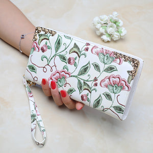 Floral Embroidering Zipper handbag (iPhone Plus Fit-table) - i-stylish mall